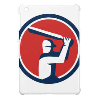 Cricket Player Batting Circle Retro Case For The iPad Mini