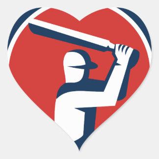 Cricket Player Batting Circle Retro Heart Sticker
