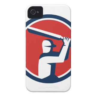 Cricket Player Batting Circle Retro iPhone 4 Case-Mate Cases