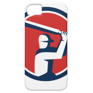 Cricket Player Batting Circle Retro iPhone 5 Cases