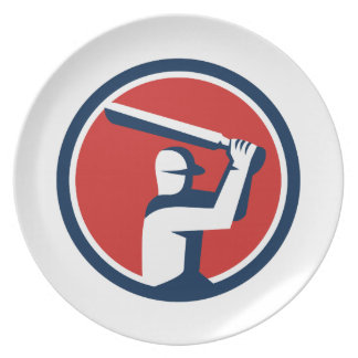 Cricket Player Batting Circle Retro Plate