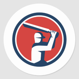 Cricket Player Batting Circle Retro Round Sticker