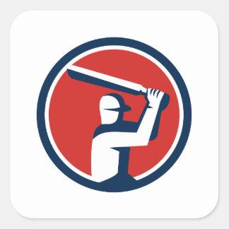 Cricket Player Batting Circle Retro Square Sticker