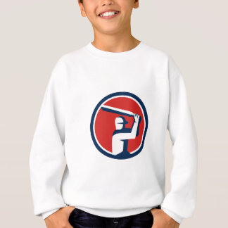 Cricket Player Batting Circle Retro Sweatshirt