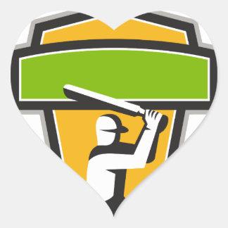 Cricket Player Batting Crest Retro Heart Sticker