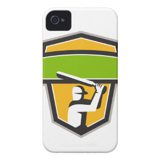 Cricket Player Batting Crest Retro iPhone 4 Covers