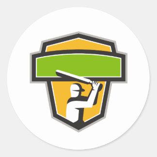 Cricket Player Batting Crest Retro Round Sticker