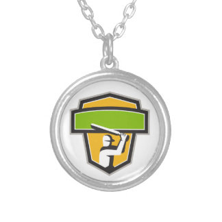 Cricket Player Batting Crest Retro Silver Plated Necklace
