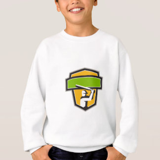 Cricket Player Batting Crest Retro Sweatshirt