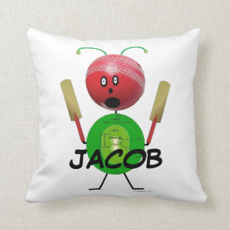 Cricket Player Cartoon Throw Pillow