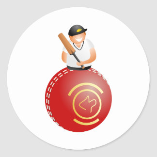 Cricket Player Round Sticker