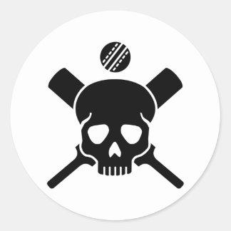 Cricket skull round sticker