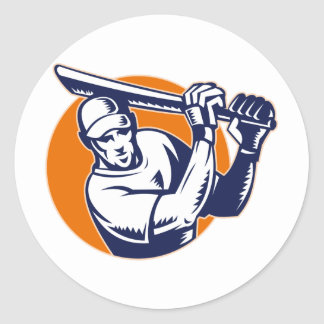 cricket sport player batsman batting retro woodcut round stickers