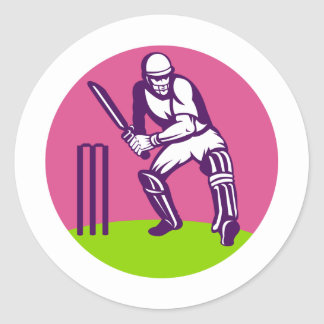 cricket sports batsman batting before wicket round sticker