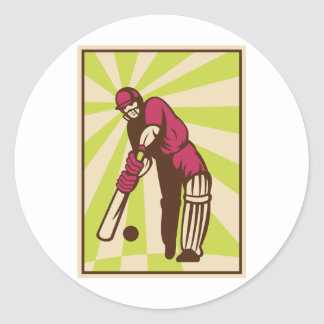cricket sports batsman batting retro round sticker