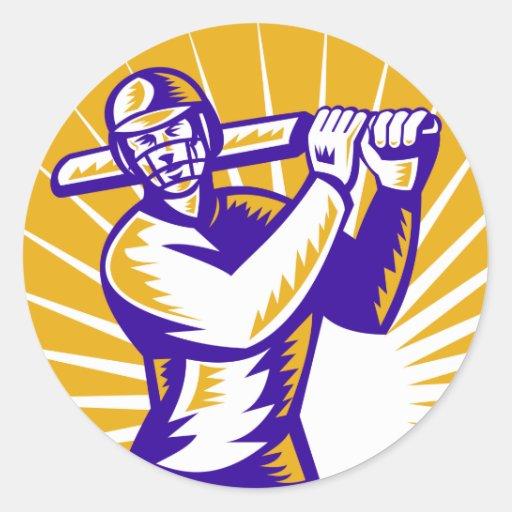 cricket sports batsman batting retro stickers