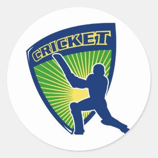 cricket sports batsman batting shield round sticker
