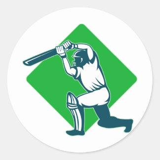 cricket sports batsman batting side view sticker
