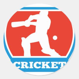 cricket sports batsman batting round sticker