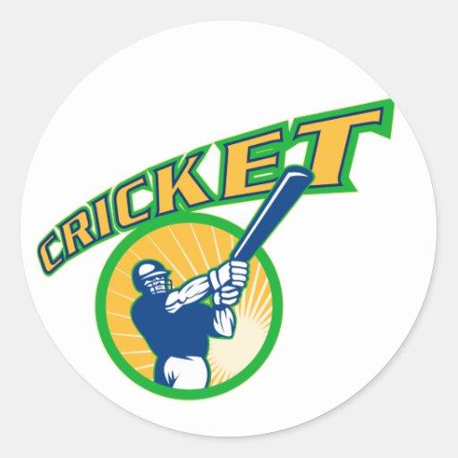 cricket sports batsman batting round stickers