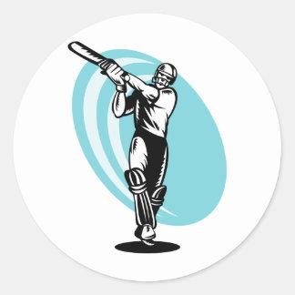cricket sports batsman batting woodcut stickers