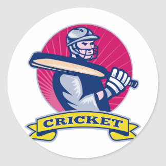 cricket sports batsman with bat retro sticker