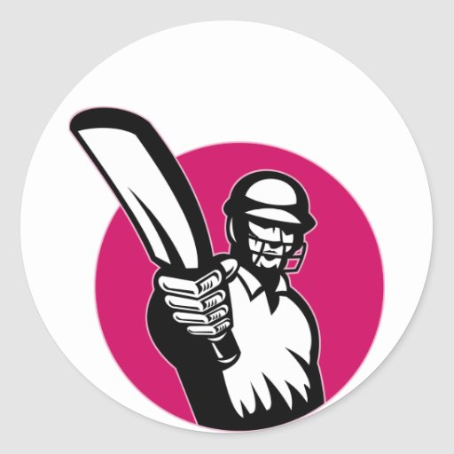 cricket sports player batsman pointing bat round sticker