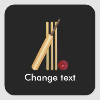 Cricket, wicket, bat and ball square sticker