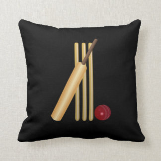 Cricket - Wicket, Bat and Ball Throw Pillow