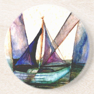 CricketDiane Sailboat Abstract 1 Sailing Coaster