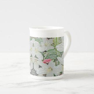 CricketDiane White Floral Flowers Bridal Wedding Bone China Mug