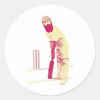 cricketer vintage round sticker