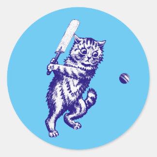 Cricketing Cat Gifts Round Sticker