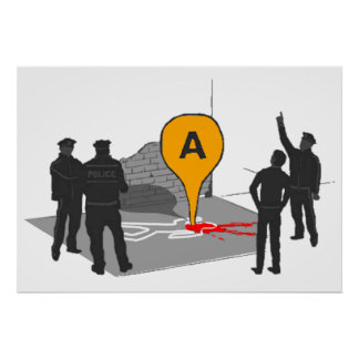 Crime Scene Map with Police and Body Outline Poster