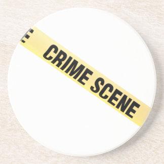 Crime scene ribbon cut out. Transparent background Drink Coaster