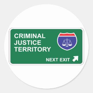 Criminal Justice Next Exit Round Sticker