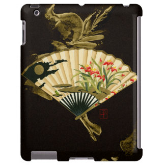 Crimped Oriental Fan with Floral Design