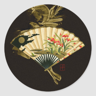 Crimped Oriental Fan with Floral Design Classic Round Sticker