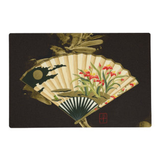 Crimped Oriental Fan with Floral Design Laminated Placemat