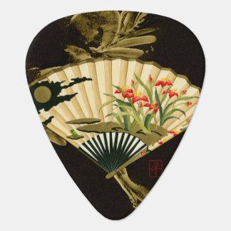 Crimped Oriental Fan with Floral Design Plectrum