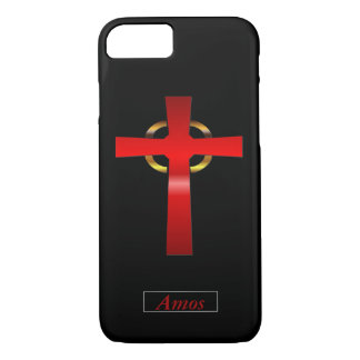 Crimson and Gold Celtic Cross iPhone 7 Case