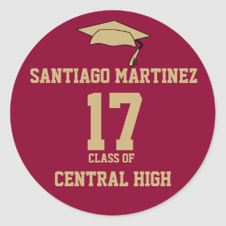 Crimson and Gold Personalized Graduation Sticker