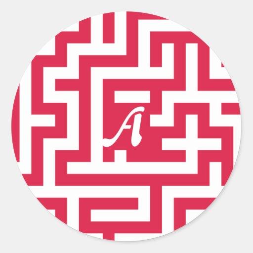 Crimson and White Maze Monogram Sticker