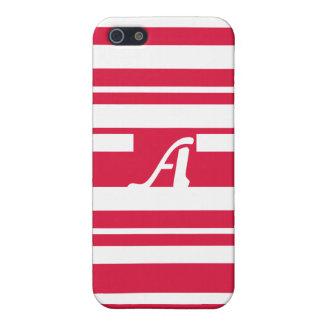 Crimson and White Random Stripes Monogram Cover For iPhone 5/5S
