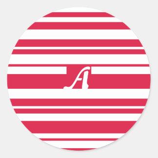 Crimson and White Random Stripes Monogram Sticker