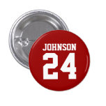 Crimson and White School Spirit Personalised Team Pinback Button