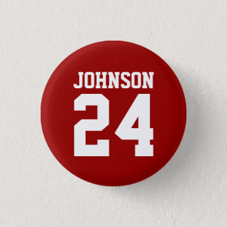 Crimson and White School Spirit Personalized Team 3 Cm Round Badge