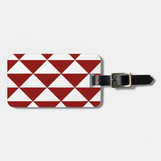 Crimson and White Triangles Luggage Tag