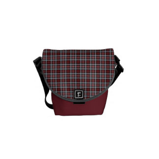 Crimson, Black and Grey Sporty Plaid Courier Bag