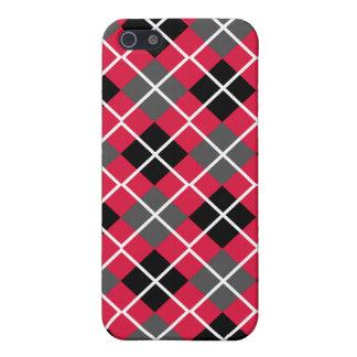 Crimson, Black, Grey & White Argyle iPhone 4 Case